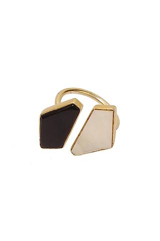 Gold Finish Black Onyx & Pearl Ring by Varnika Arora