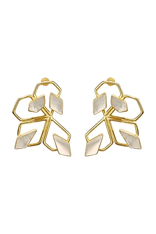Gold Finish Mother of Pearl Earrings by Varnika Arora