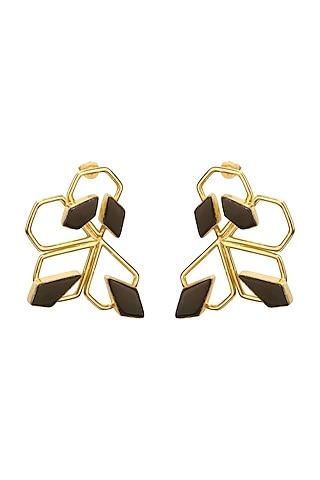 Gold Finish Black Onyx Earrings by Varnika Arora