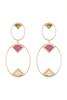 Gold Plated Handmade Peridot, Pink Quartz & Citrine Earrings by Varnika Arora