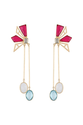 Gold Plated Handmade Pink Quartz, White MOP, Blue Topaz & Green Amethyst Checkered Earrings by Varnika Arora