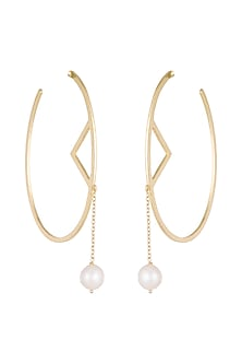 Gold Plated Handmade Pearl Hoop Earrings by Varnika Arora