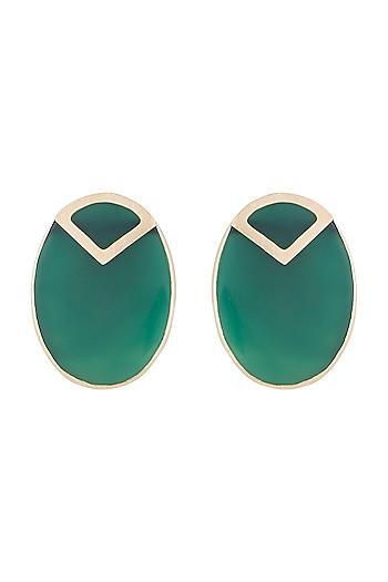 Gold Plated Handmade Green Onyx Stud Earrings by Varnika Arora