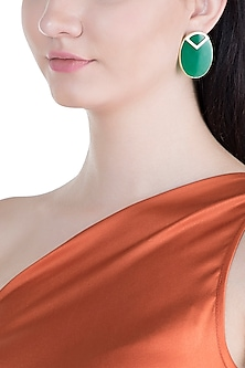 Gold Plated Handmade Green Onyx Stud Earrings by Varnika Arora