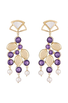 Gold Plated Handmade Amethyst & Pearl Dangler Earrings by Varnika Arora