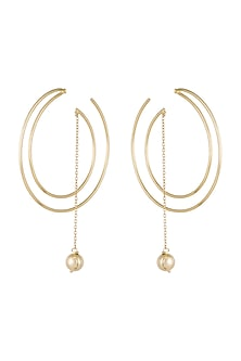 Gold Plated Handmade Bead Hoop Earrings by Varnika Arora