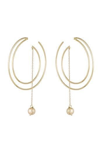 Gold Plated Handmade Bead Hoop Earrings by Varnika Arora