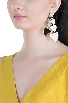 Gold Plated Handmade Black Onyx & White MOP Long Earrings by Varnika Arora