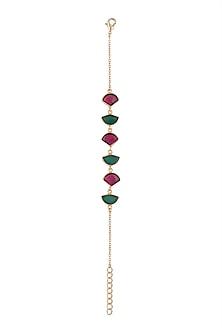 Gold Plated Handmade Pink Quartz & Green Onyx Bracelet by Varnika Arora