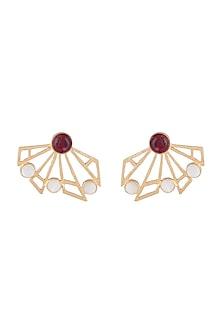 Gold Plated Handmade Pink Quartz & White MOP Stud Earrings by Varnika Arora