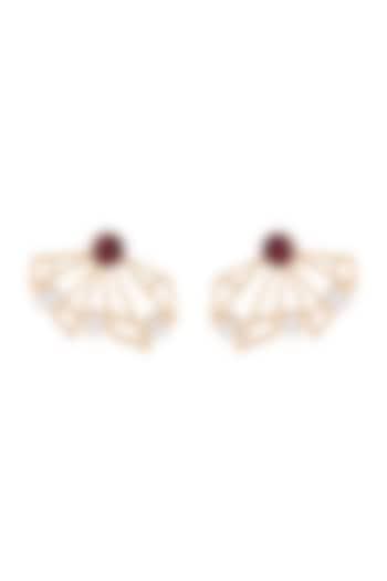 Gold Plated Handmade Pink Quartz & White MOP Stud Earrings by Varnika Arora