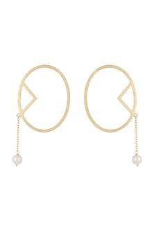 Gold Plated Handmade Pearl Earrings by Varnika Arora