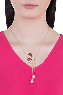 Gold Plated Handmade Pink Quartz & White MOP Necklace by Varnika Arora
