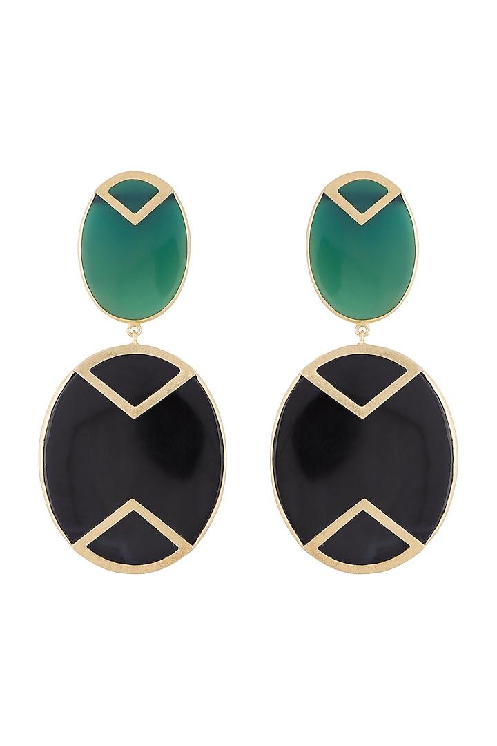 Gold Plated Handmade Green & Black Onyx Geometric Earrings by Varnika Arora