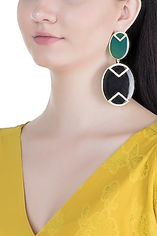 Gold Plated Handmade Green & Black Onyx Geometric Earrings by Varnika Arora