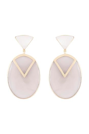 Gold Plated Handmade Grey Onyx & White Mop Earrings by Varnika Arora