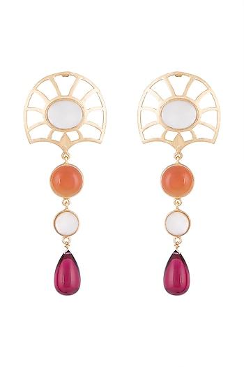Gold Plated Handmade White MOP, Carnelian & Hydro Pink Drop Earrings by Varnika Arora