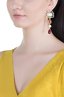 Gold Plated Handmade White MOP, Carnelian & Hydro Pink Drop Earrings by Varnika Arora