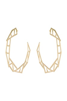 Gold Plated Handmade Big Hoop Earrings by Varnika Arora