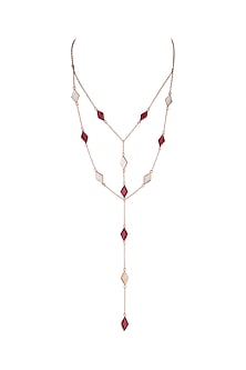 Rose Gold Plated MOP & Pink Quartz Necklace by Varnika Arora