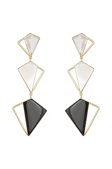 Gold Plated Black Onyx Long Earrings by Varnika Arora