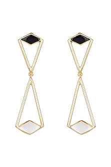 Gold Plated Black Onyx & White MOP Earrings by Varnika Arora