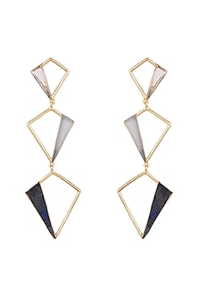 Gold Plated Light Blue Onyx Earrings by Varnika Arora