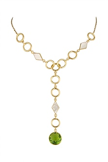 Gold Plated White MOP Necklace by Varnika Arora
