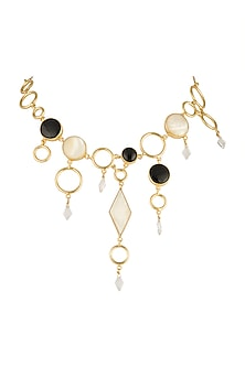 Gold Plated MOP Necklace by Varnika Arora