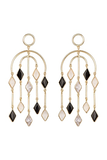 Gold Plated Handcrafted White MOP Earrings by Varnika Arora