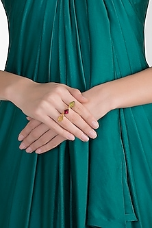 Gold Plated Pink Quartz Ring by Varnika Arora