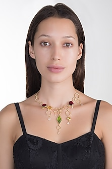 Gold Plated Pink Quartz Choker Necklace by Varnika Arora