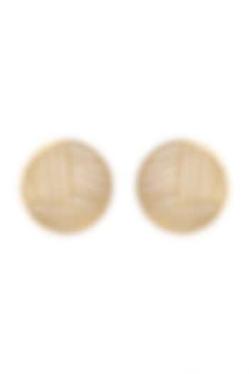 Gold Plated White MOP Stud Earrings by Varnika Arora