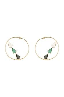 Gold Plated MOP Hoop Earrings by Varnika Arora