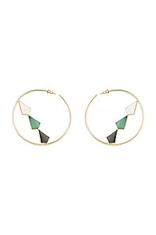 Gold Plated MOP Hoop Earrings by Varnika Arora