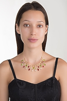 Gold Plated Rock Crystal Necklace by Varnika Arora