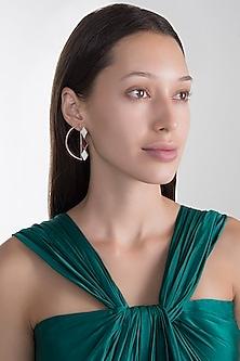 Rose Gold Plated Pink Quartz Stud Earrings by Varnika Arora