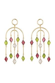 Gold Plated Pink Quartz & Rock Crystal Earrings by Varnika Arora
