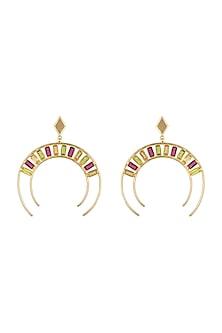 Gold Plated Pink Quartz Earrings by Varnika Arora