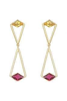 Gold Plated Citrine & Pink Quartz Earrings by Varnika Arora