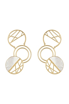 Gold Plated Semi-Precious White Stone Earrings by Varnika Arora