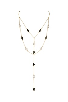 Gold Plated Black Onyx Necklace by Varnika Arora