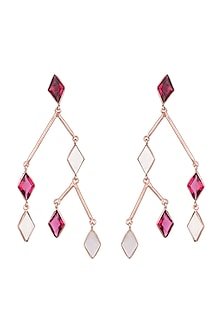 Rose Gold Plated Pink Quartz Earrings by Varnika Arora