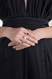 Gold Plated MOP Ring by Varnika Arora