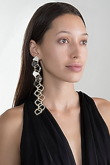 Gold Plated Grey & Black Onyx Earrings by Varnika Arora