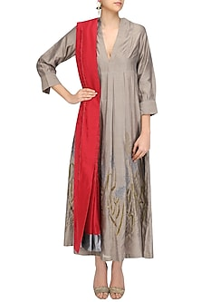 Beige Gold Embroidered Sonphool Long Tunic with Red Sonjaal Dupatta by Vineet Rahul