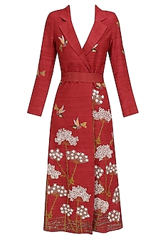 Red Embroidered Gulbaagh Trench Coat by Vineet Rahul