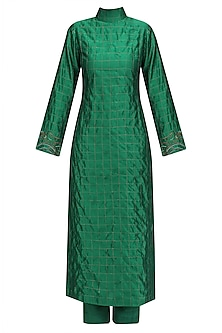 Green Embroidered Sonjaal Tutrle Neck Tunic and Pants Set by Vineet Rahul