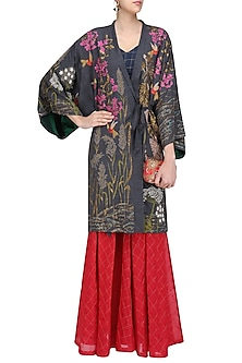Charcoal Grey Embroidered Kimono Jacket with Sonjaal Skirt and Bralette by Vineet Rahul