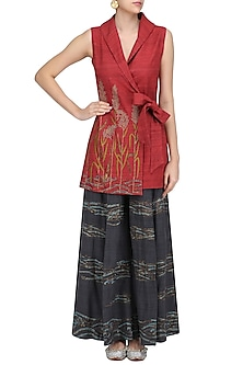 Red Sonphool Wrap Tunic with Charcoal Grey Pants by Vineet Rahul